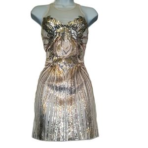 Bebe gold and cream sequin dress XS